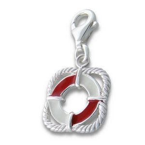 Charm School UK > Sterling Silver Clip On Charms > Enamel Charms > Life Buoy Sterling Silver Clip On Charm